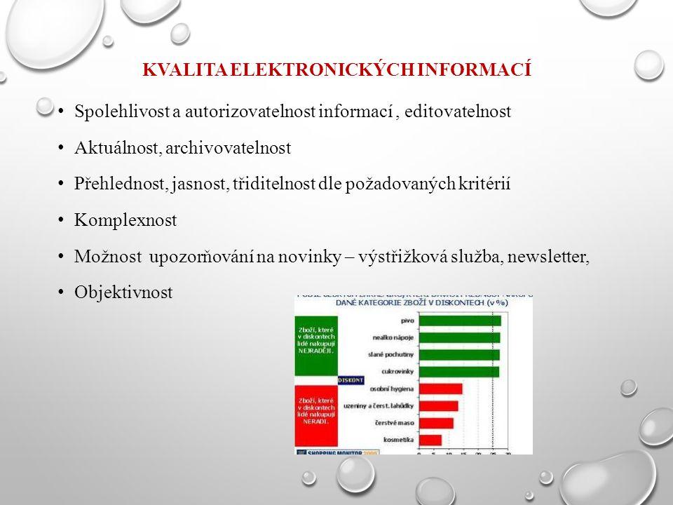 KVALITA ELEKTRONICKÝCH INFORMACÍ Spolehlivost a autorizovatelnost informací, editovatelnost Aktuálnost, archivovatelnost Přehlednost, jasnost, třiditelnost dle požadovaných kritérií Komplexnost Možnost upozorňování na novinky – výstřižková služba, newsletter, Objektivnost