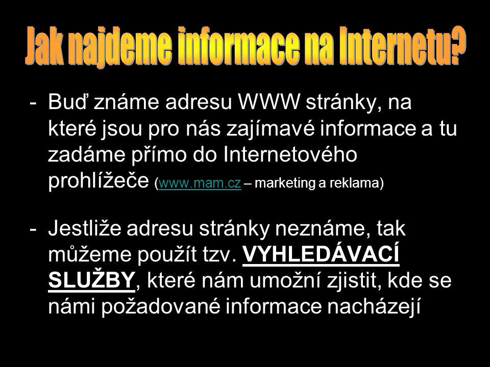 -Buď známe adresu WWW stránky, na které jsou pro nás zajímavé informace a tu zadáme přímo do Internetového prohlížeče (www.mam.cz – marketing a reklama)www.mam.cz -Jestliže adresu stránky neznáme, tak můžeme použít tzv.