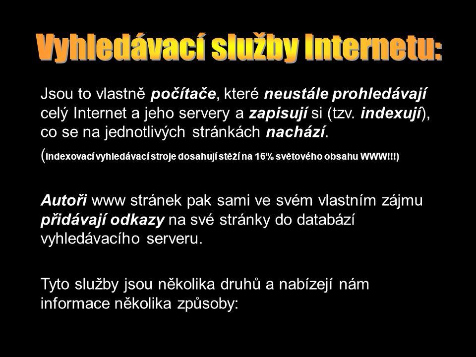 Jsou to vlastně počítače, které neustále prohledávají celý Internet a jeho servery a zapisují si (tzv. indexují), co se na jednotlivých stránkách nach