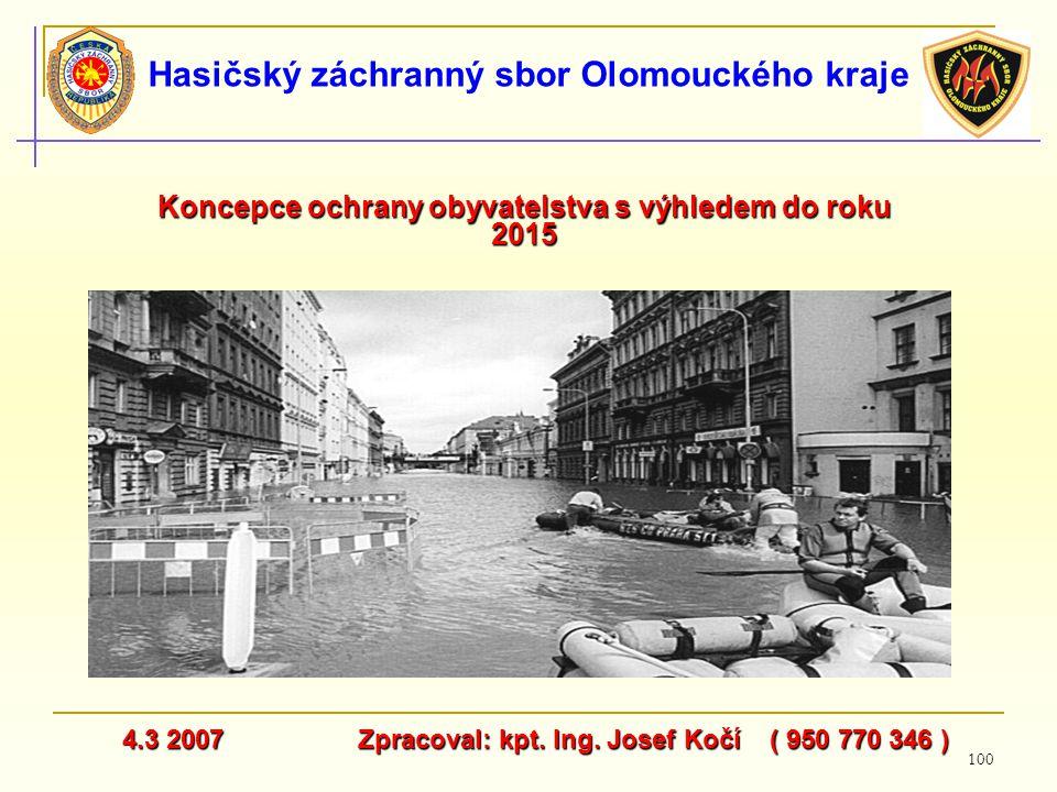 100 Hasičský záchranný sbor Olomouckého kraje Koncepce ochrany obyvatelstva s výhledem do roku 2015 4.3 2007 Zpracoval: kpt. Ing. Josef Kočí ( 950 770