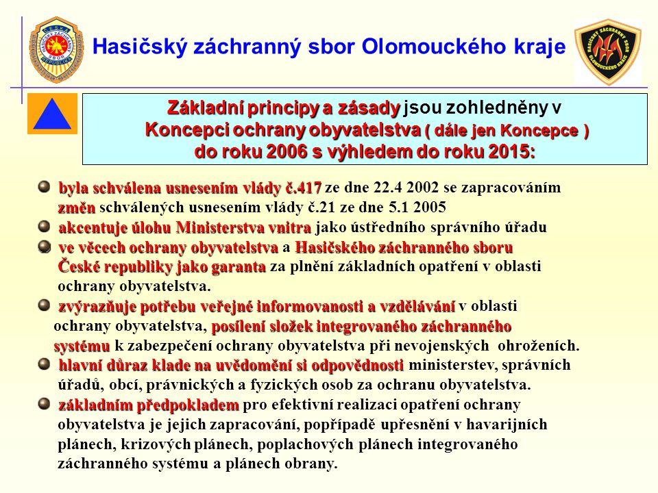 Hasičský záchranný sbor Olomouckého kraje byla schválena usnesením vlády č.417 byla schválena usnesením vlády č.417 ze dne 22.4 2002 se zapracováním z
