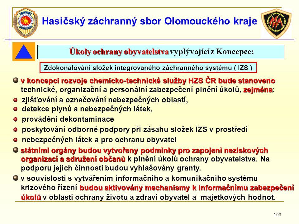 109 Hasičský záchranný sbor Olomouckého kraje v koncepci rozvoje chemicko-technické služby HZS ČRbude stanoveno v koncepci rozvoje chemicko-technické