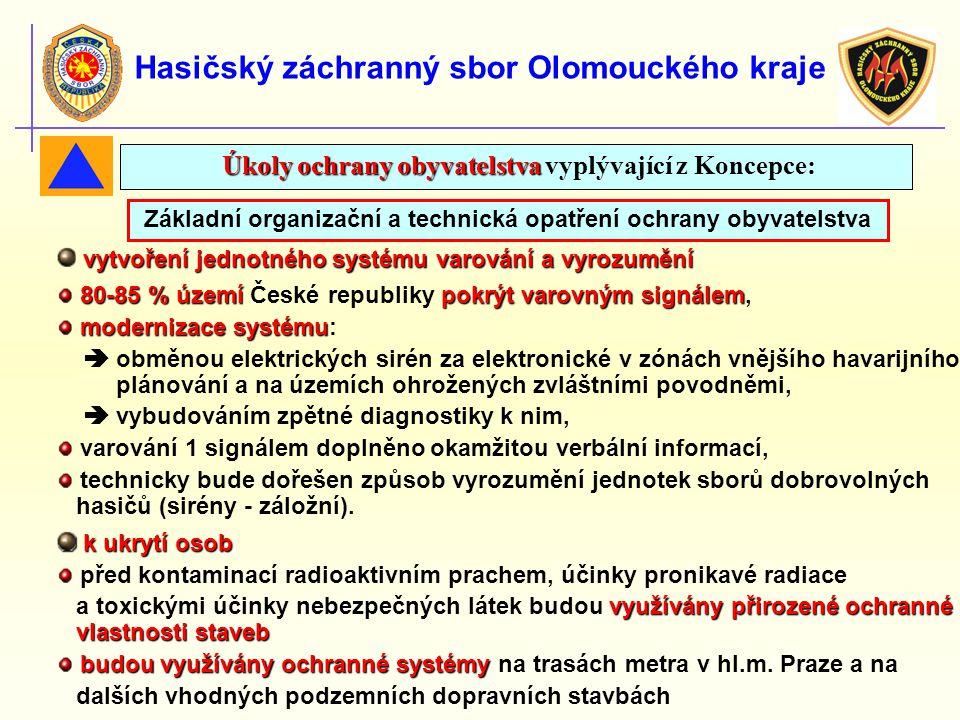 Hasičský záchranný sbor Olomouckého kraje Základní organizační a technická opatření ochrany obyvatelstva vytvoření jednotného systému varování a vyroz