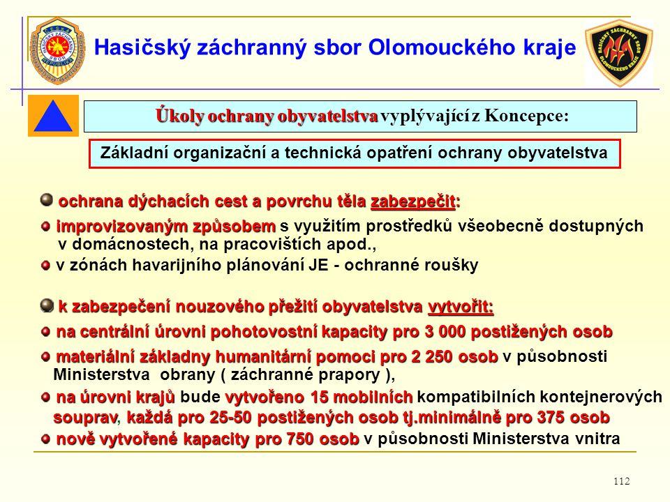 112 Hasičský záchranný sbor Olomouckého kraje Základní organizační a technická opatření ochrany obyvatelstva ochrana dýchacích cest a povrchu těla zab