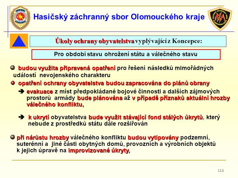113 Hasičský záchranný sbor Olomouckého kraje Pro období stavu ohrožení státu a válečného stavu budou využita připravená opatření budou využita připra