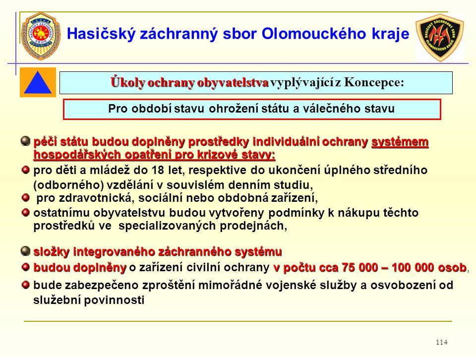 114 Hasičský záchranný sbor Olomouckého kraje Pro období stavu ohrožení státu a válečného stavu Úkoly ochrany obyvatelstva Úkoly ochrany obyvatelstva