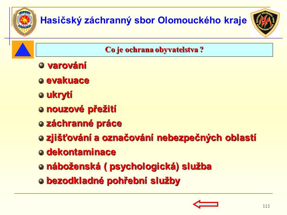 115 Hasičský záchranný sbor Olomouckého kraje Co je ochrana obyvatelstva ? varování varování evakuace evakuace ukrytí ukrytí nouzové přežití nouzové p