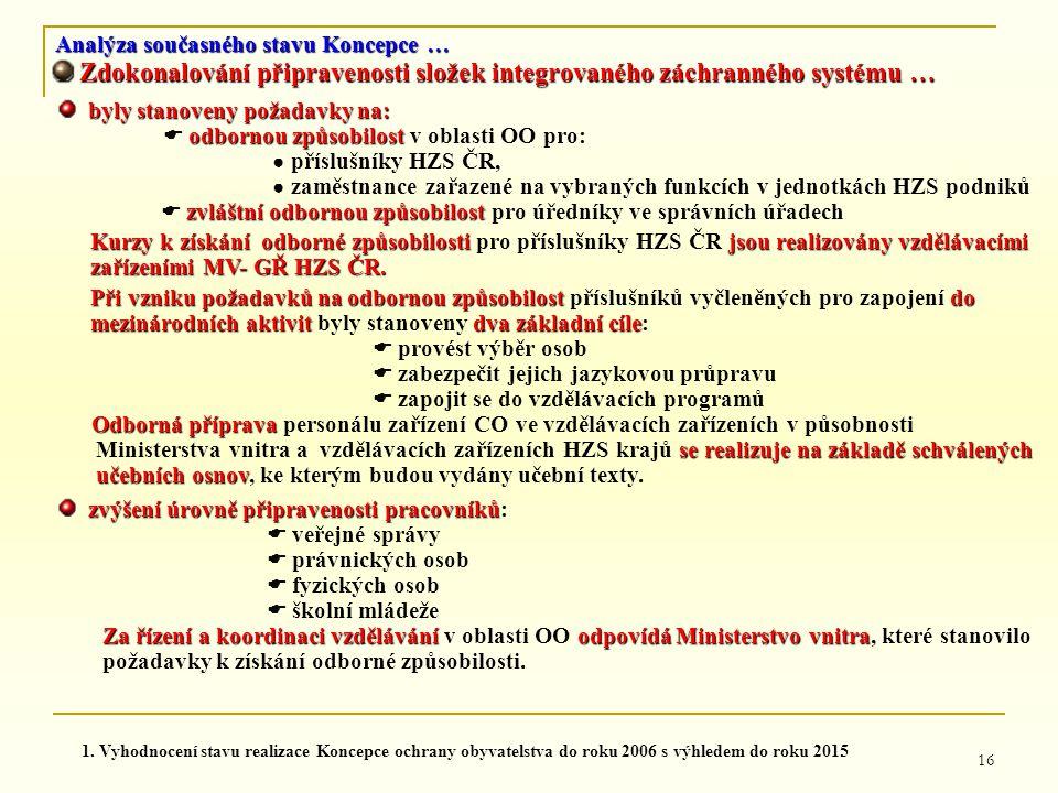 16 Analýza současného stavu Koncepce … Zdokonalování připravenosti složek integrovaného záchranného systému … Zdokonalování připravenosti složek integ