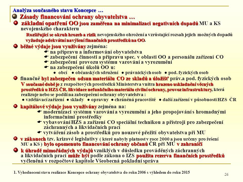 26 Analýza současného stavu Koncepce … Zásady financování ochrany obyvatelstva … Zásady financování ochrany obyvatelstva … základní opatření OO jsou z
