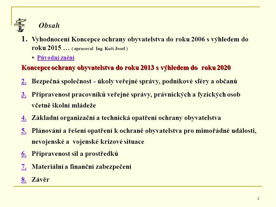 3 Obsah 1. 1. Vyhodnocení Koncepce ochrany obyvatelstva do roku 2006 s výhledem do roku 2015 … ( zpracoval Ing. Kočí Josef ) Původní znění Koncepce oc