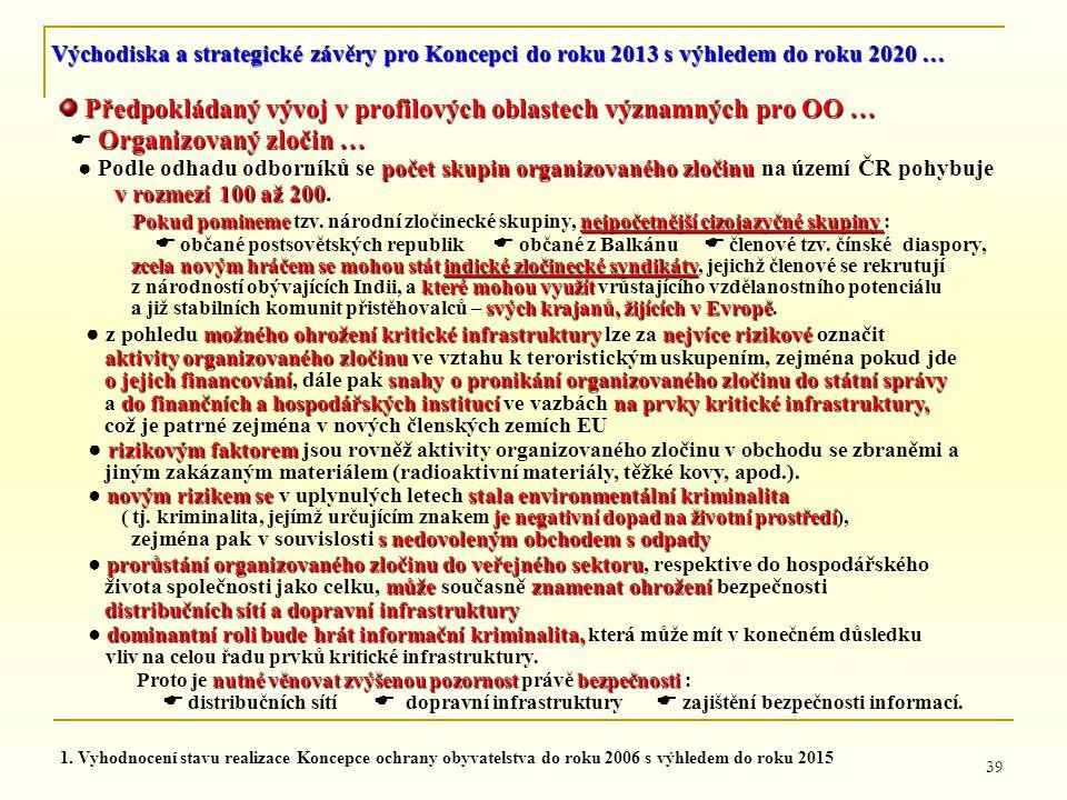 39 Předpokládaný vývoj v profilových oblastech významných pro OO … Předpokládaný vývoj v profilových oblastech významných pro OO … Organizovaný zločin