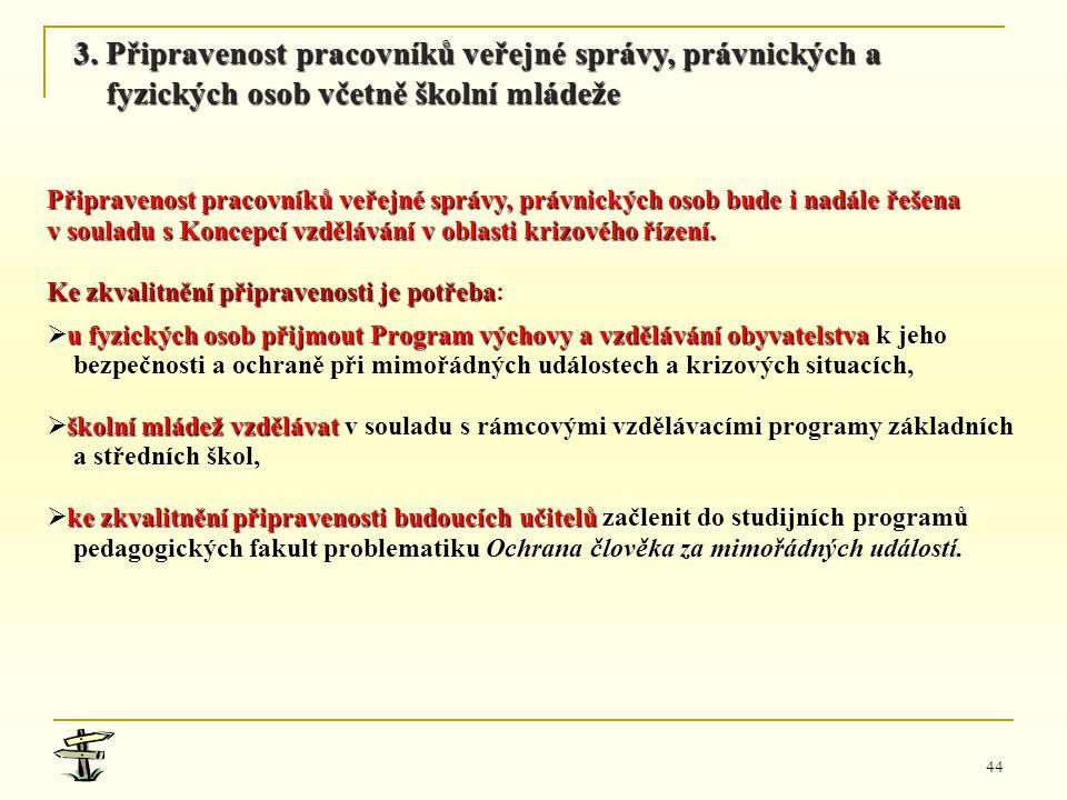 44 Připravenost pracovníků veřejné správy, právnických osob bude i nadále řešena v souladu s Koncepcí vzdělávání v oblasti krizového řízení. Ke zkvali