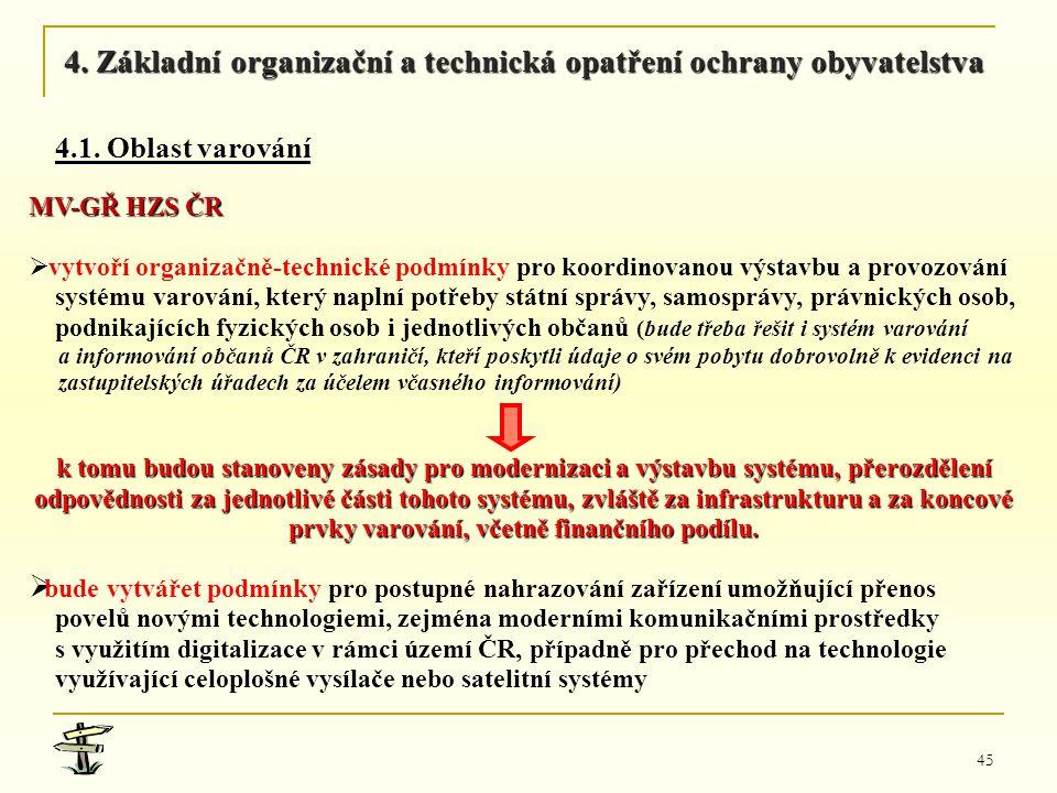45 MV-GŘ HZS ČR   vytvoří organizačně-technické podmínky pro koordinovanou výstavbu a provozování systému varování, který naplní potřeby státní sprá
