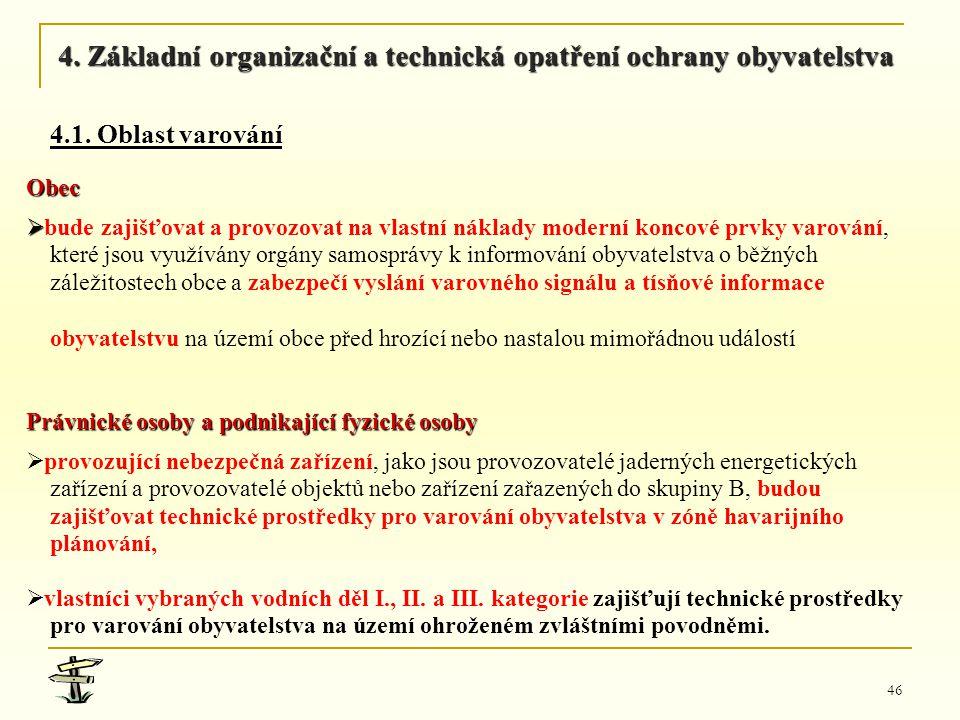 46 Obec ,  bude zajišťovat a provozovat na vlastní náklady moderní koncové prvky varování, které jsou využívány orgány samosprávy k informování obyv