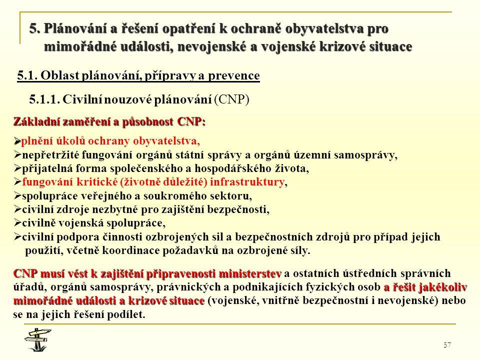 57 Základní zaměření a působnost CNP:   plnění úkolů ochrany obyvatelstva,   nepřetržité fungování orgánů státní správy a orgánů územní samosprávy