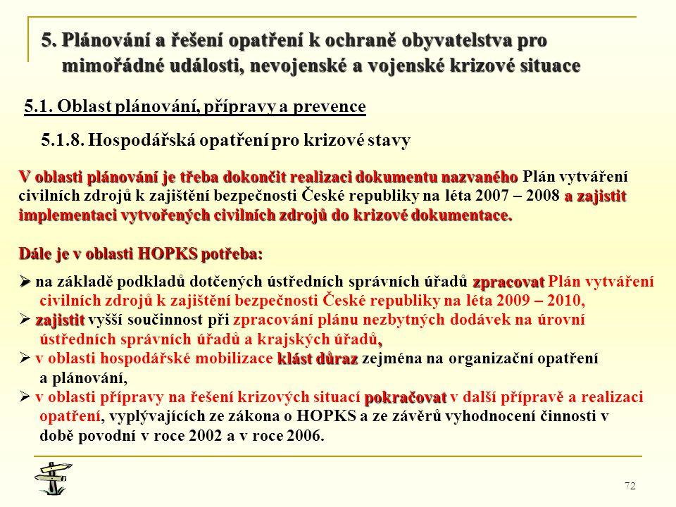 72 V oblasti plánování je třeba dokončit realizaci dokumentu nazvaného V oblasti plánování je třeba dokončit realizaci dokumentu nazvaného Plán vytvář