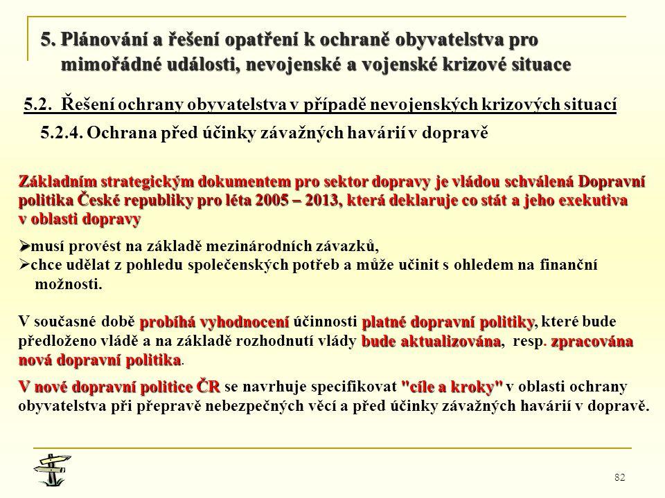 82 Základním strategickým dokumentem pro sektor dopravy je vládou schválená Dopravní politika České republiky pro léta 2005 – 2013, která deklaruje co