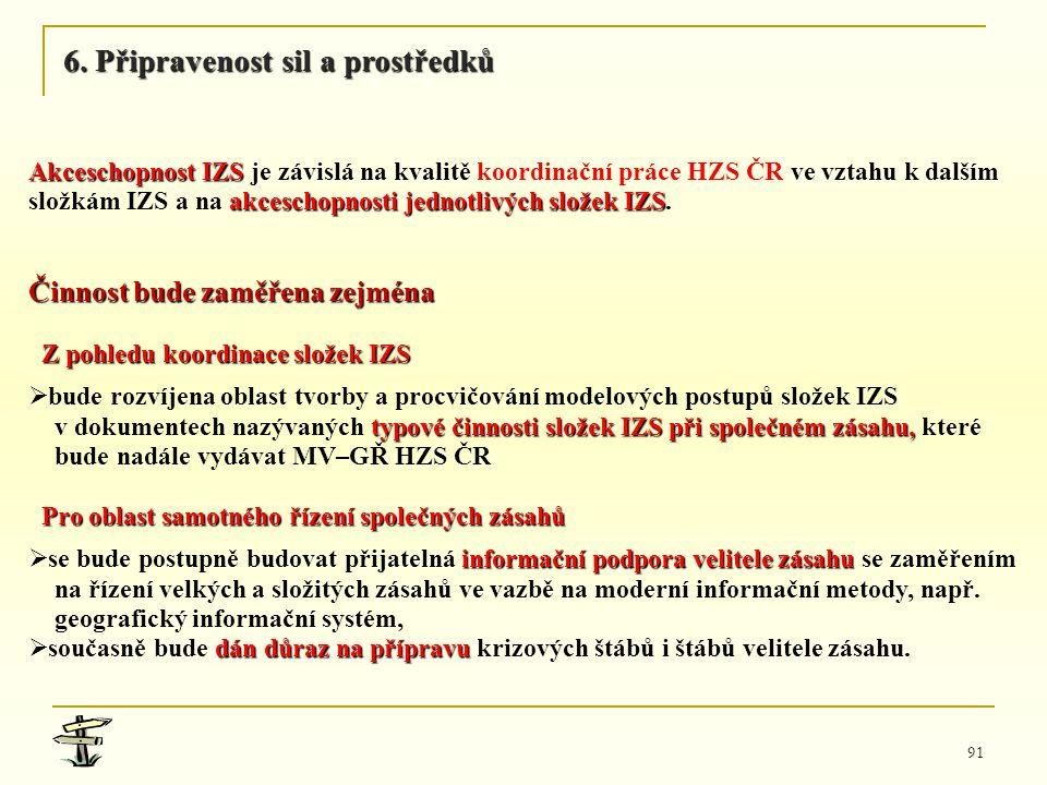91 Akceschopnost IZS Akceschopnost IZS je závislá na kvalitě koordinační práce HZS ČR ve vztahu k dalším akceschopnosti jednotlivých složek IZS složká