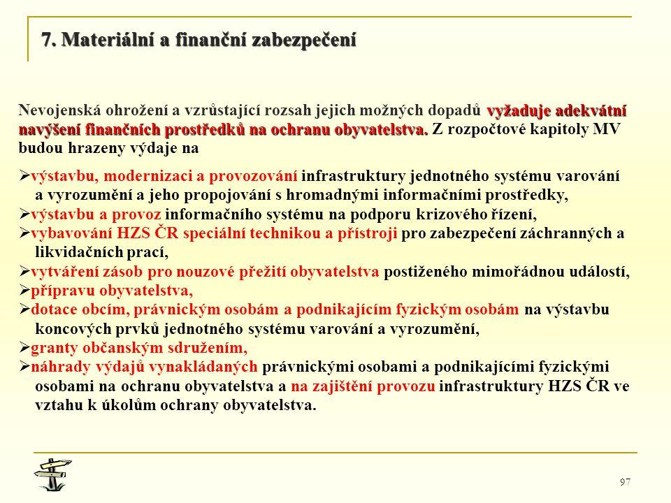 97 vyžaduje adekvátní Nevojenská ohrožení a vzrůstající rozsah jejich možných dopadů vyžaduje adekvátní navýšení finančních prostředků na ochranu obyv
