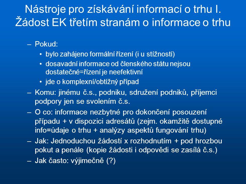 Nástroje pro získávání informací o trhu I. Žádost EK třetím stranám o informace o trhu –Pokud: bylo zahájeno formální řízení (i u stížností) dosavadní