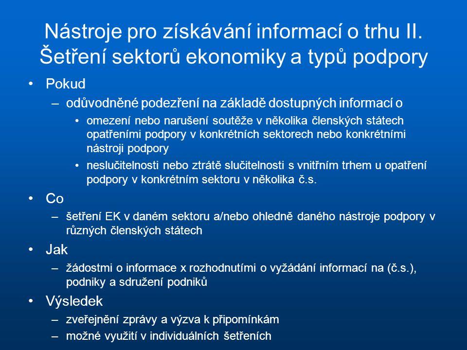 Nástroje pro získávání informací o trhu II. Šetření sektorů ekonomiky a typů podpory Pokud –odůvodněné podezření na základě dostupných informací o ome