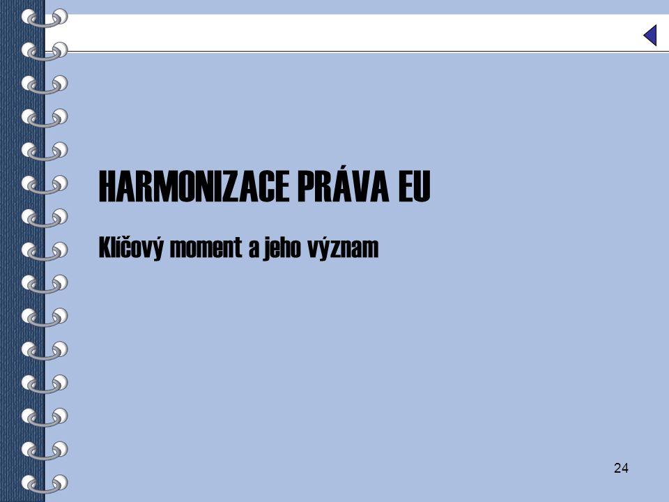 24 HARMONIZACE PRÁVA EU Klíčový moment a jeho význam