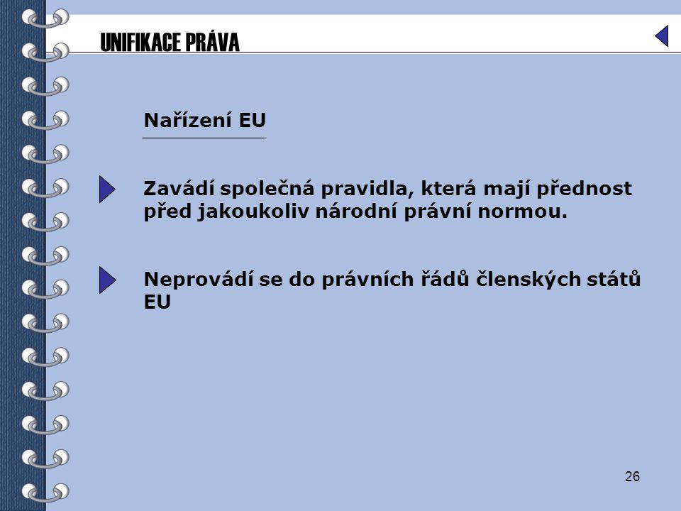 26 Nařízení EU Zavádí společná pravidla, která mají přednost před jakoukoliv národní právní normou. Neprovádí se do právních řádů členských států EU U