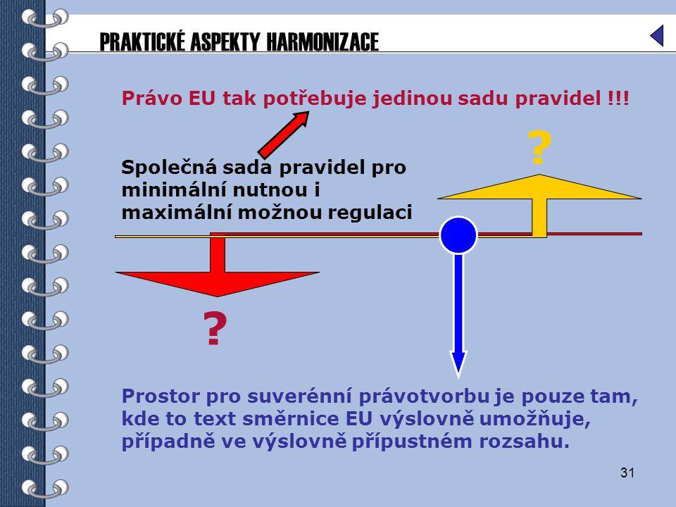 31 Společná sada pravidel pro minimální nutnou i maximální možnou regulaci PRAKTICKÉ ASPEKTY HARMONIZACE ? ? Prostor pro suverénní právotvorbu je pouz