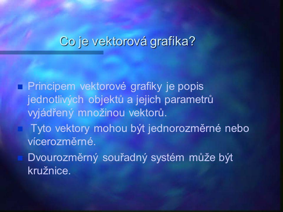 Co je vektorová grafika? Principem vektorové grafiky je popis jednotlivých objektů a jejich parametrů vyjádřený množinou vektorů. Tyto vektory mohou b