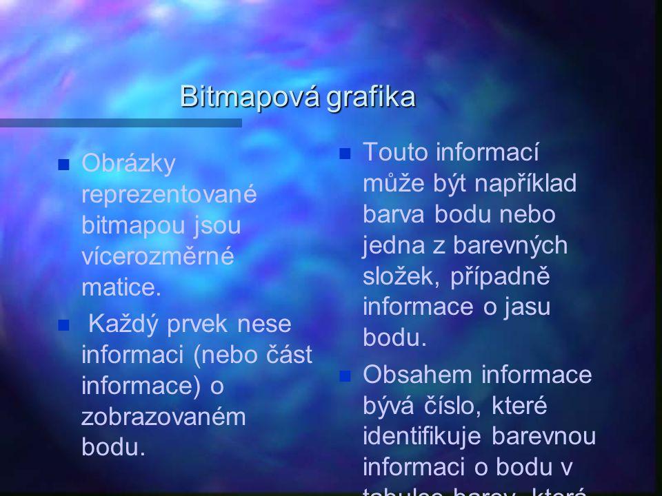 Bitmapová grafika Obrázky reprezentované bitmapou jsou vícerozměrné matice. Každý prvek nese informaci (nebo část informace) o zobrazovaném bodu. Tout