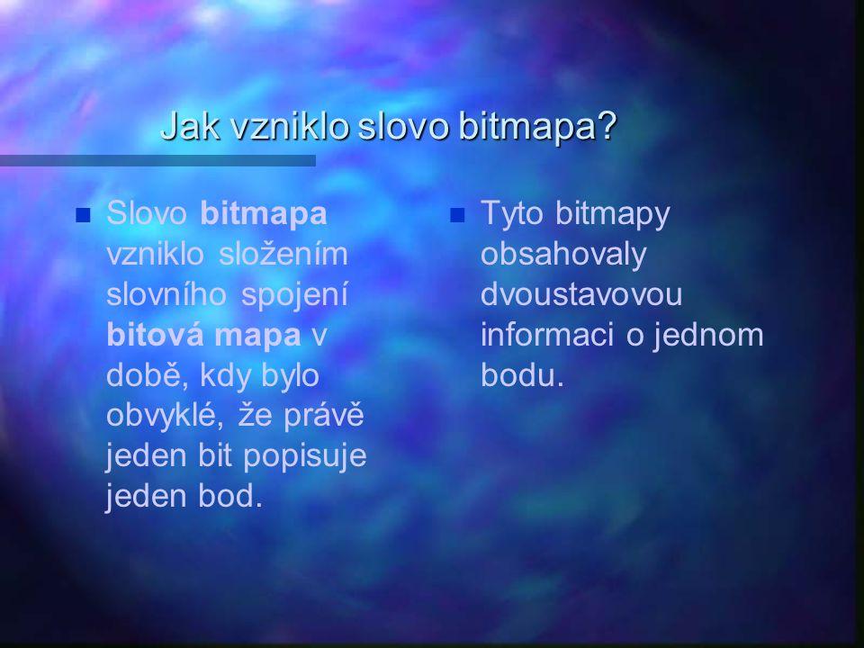 Jak vzniklo slovo bitmapa? Slovo bitmapa vzniklo složením slovního spojení bitová mapa v době, kdy bylo obvyklé, že právě jeden bit popisuje jeden bod