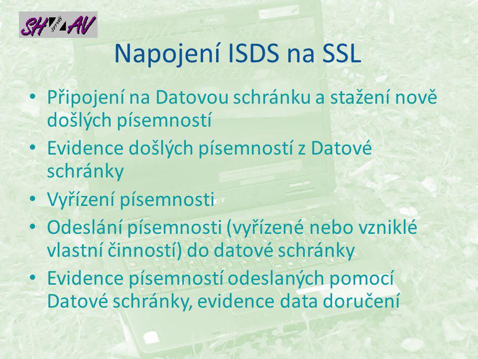 Napojení ISDS na SSL Připojení na Datovou schránku a stažení nově došlých písemností Evidence došlých písemností z Datové schránky Vyřízení písemnosti Odeslání písemnosti (vyřízené nebo vzniklé vlastní činností) do datové schránky Evidence písemností odeslaných pomocí Datové schránky, evidence data doručení