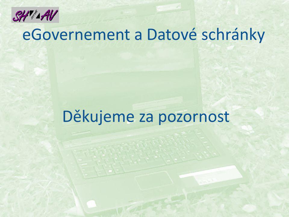 eGovernement a Datové schránky Děkujeme za pozornost