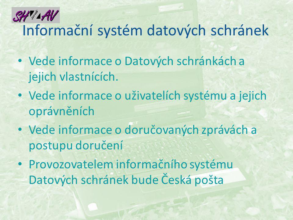 Informační systém datových schránek Vede informace o Datových schránkách a jejich vlastnících.