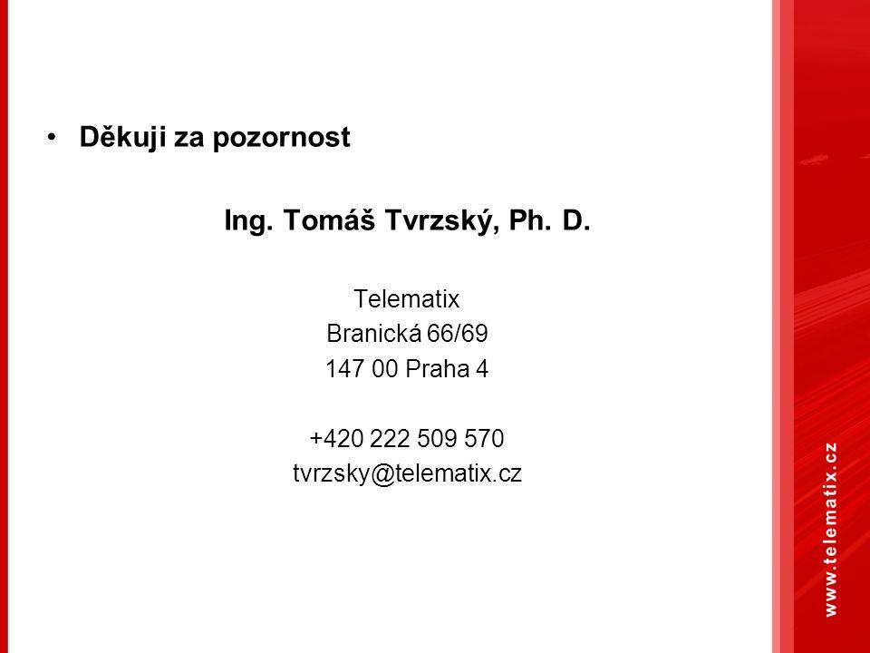 Děkuji za pozornost Ing. Tomáš Tvrzský, Ph. D. Telematix Branická 66/69 147 00 Praha 4 +420 222 509 570 tvrzsky@telematix.cz