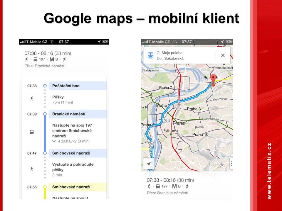 Google maps – mobilní klient