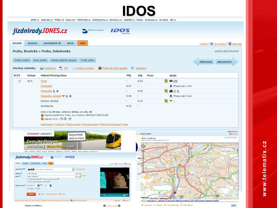 Využití dat uživatelů veřejné dopravy v rámci IDS Při vhodném nastavení smluvního vztahu mezi odběratelem dopravních dat a jejich vlastníkem (IDS) je možné získat např.: Statistiky využití multimodálního plánovače tras Informace o aktuální dopravní situaci Mapový feedback Informace o obsazenosti vozidel veřejné dopravy Informace o práci na silnici Informace o obsazenosti parkovišť B2B odběratelé dat tak nebudou za data platit, ale poskytnou ve vhodném formátu (anonymizovaná) data, která získají od svých uživatelů