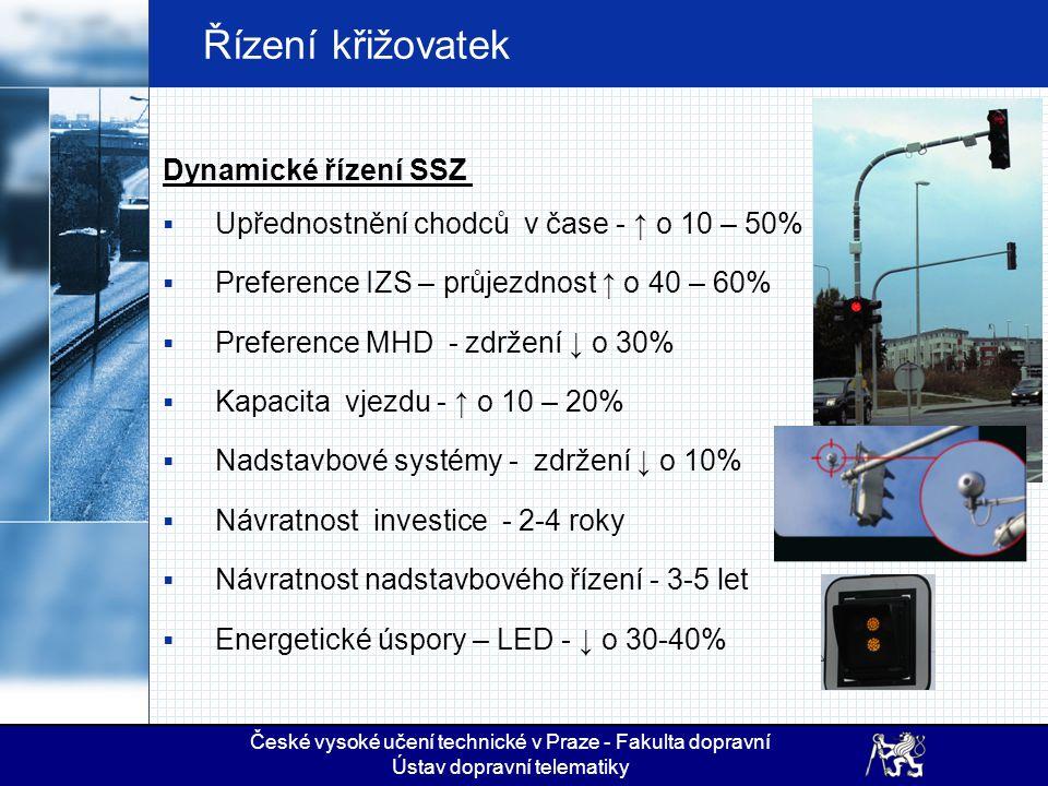 Řízení křižovatek Dynamické řízení SSZ  Upřednostnění chodců v čase - ↑ o 10 – 50%  Preference IZS – průjezdnost ↑ o 40 – 60%  Preference MHD - zdr