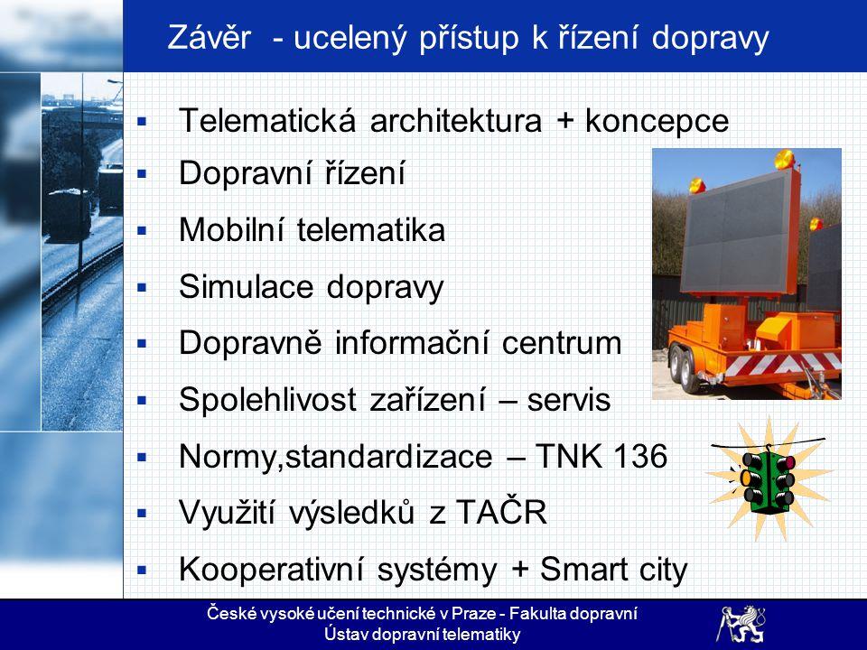 Závěr - ucelený přístup k řízení dopravy  Telematická architektura + koncepce  Dopravní řízení  Mobilní telematika  Simulace dopravy  Dopravně in