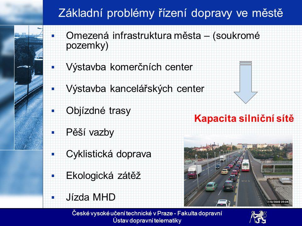 Základní problémy řízení dopravy ve městě  Omezená infrastruktura města – (soukromé pozemky)  Výstavba komerčních center  Výstavba kancelářských ce