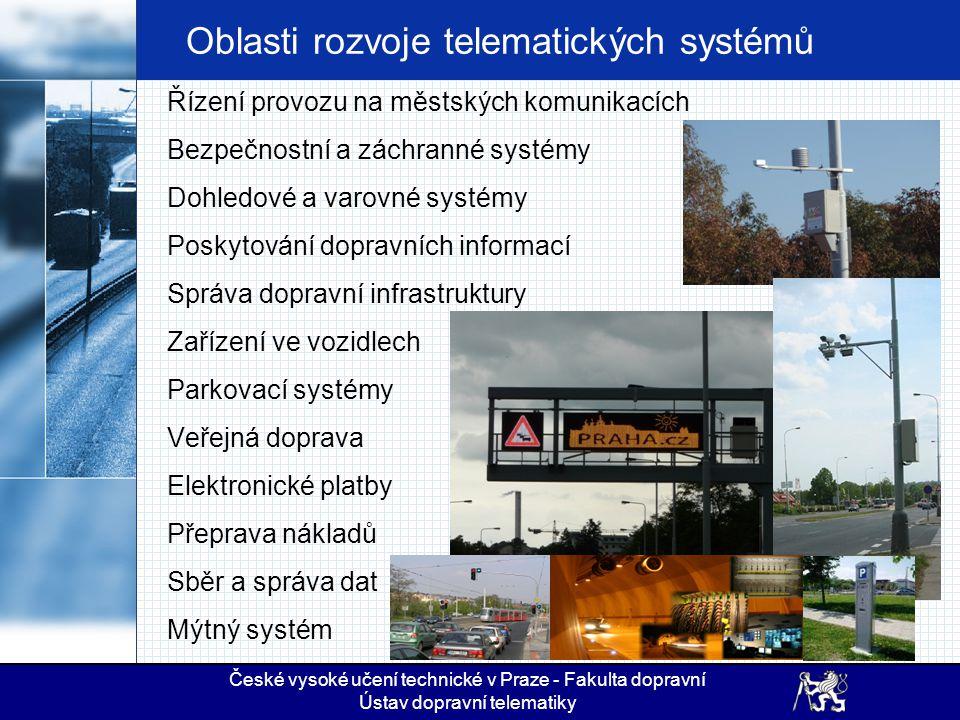 Oblasti rozvoje telematických systémů Řízení provozu na městských komunikacích Bezpečnostní a záchranné systémy Dohledové a varovné systémy Poskytován