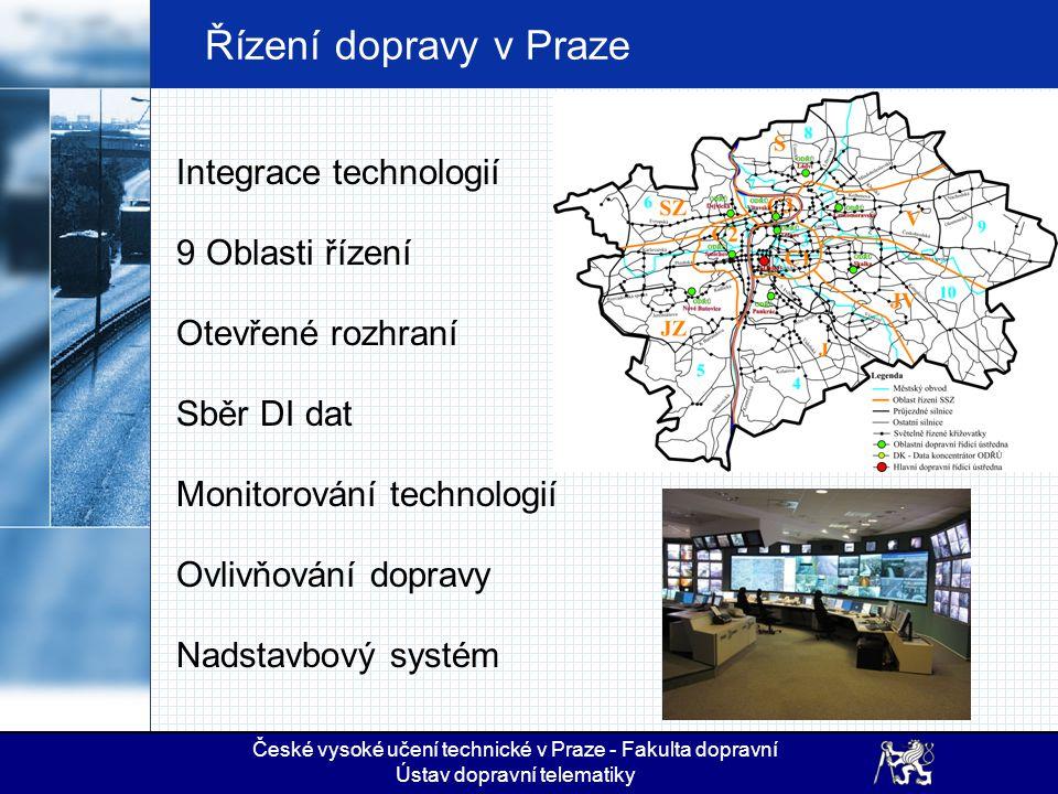 Řízení dopravy v Praze Integrace technologií 9 Oblasti řízení Otevřené rozhraní Sběr DI dat Monitorování technologií Ovlivňování dopravy Nadstavbový s
