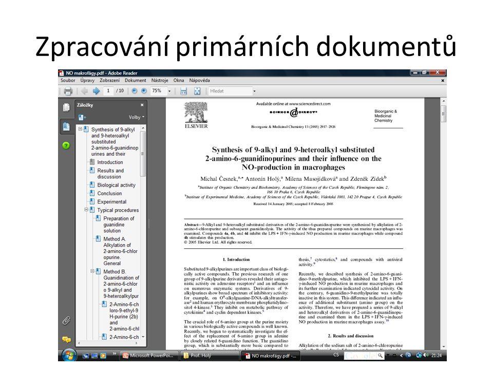 Zpracování primárních dokumentů