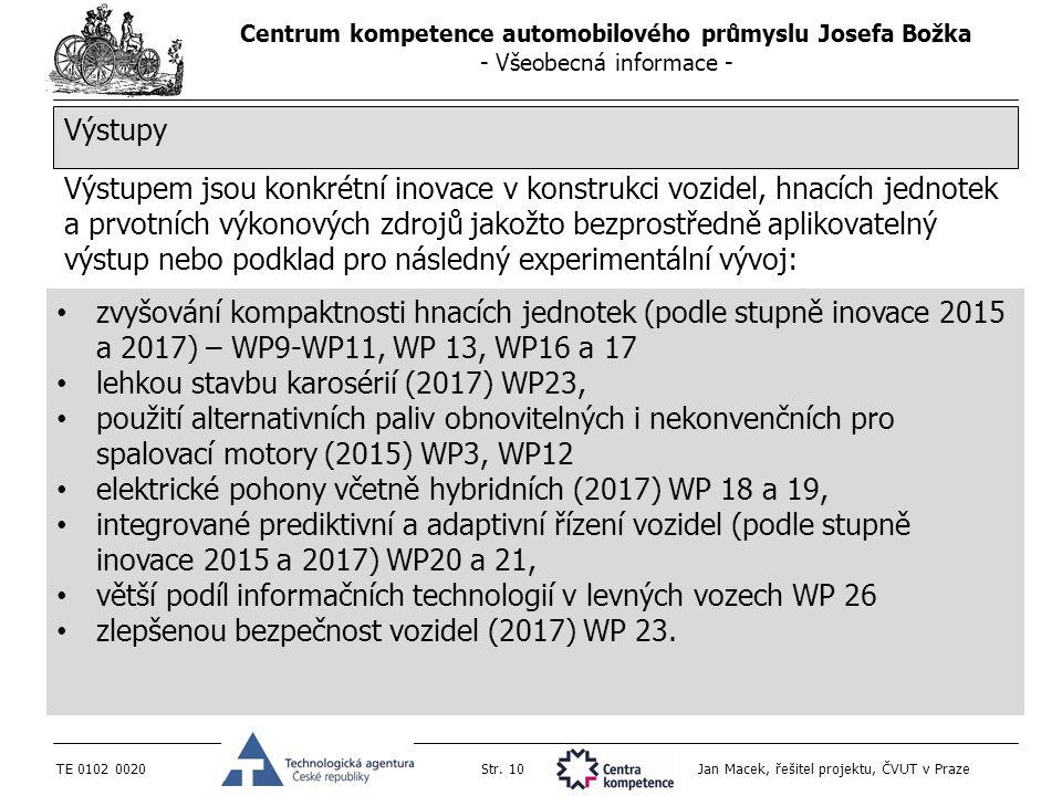 Centrum kompetence automobilového průmyslu Josefa Božka - Všeobecná informace - TE 0102 0020Str. 10 Jan Macek, řešitel projektu, ČVUT v Praze Výstupem
