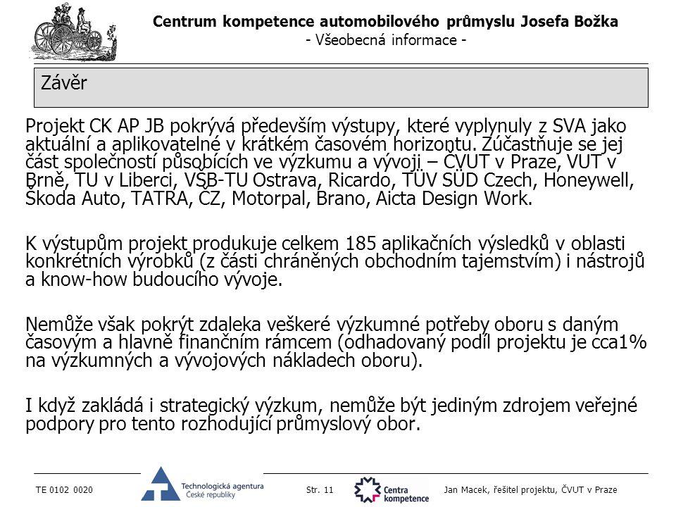 Centrum kompetence automobilového průmyslu Josefa Božka - Všeobecná informace - TE 0102 0020Str. 11 Jan Macek, řešitel projektu, ČVUT v Praze Projekt