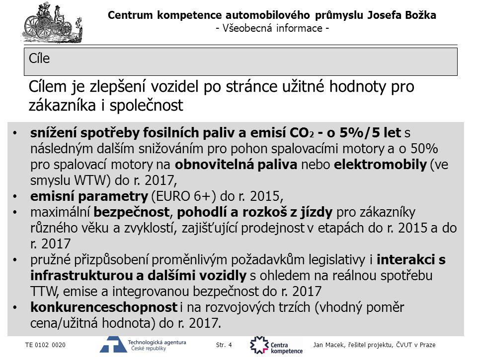 Centrum kompetence automobilového průmyslu Josefa Božka - Všeobecná informace - TE 0102 0020Str. 4 Jan Macek, řešitel projektu, ČVUT v Praze Cílem je
