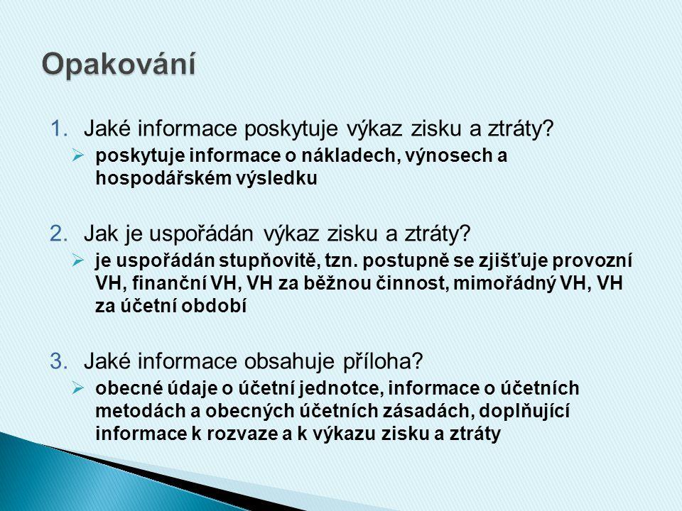 1.Jaké informace poskytuje výkaz zisku a ztráty.