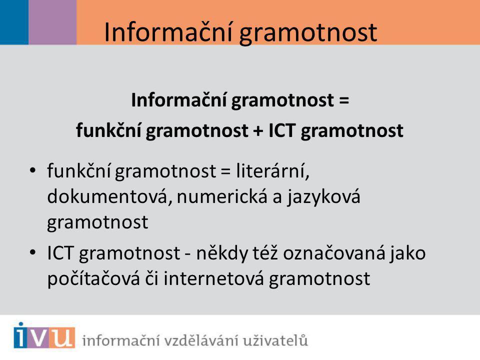 Informační gramotnost Informační gramotnost = funkční gramotnost + ICT gramotnost funkční gramotnost = literární, dokumentová, numerická a jazyková gr
