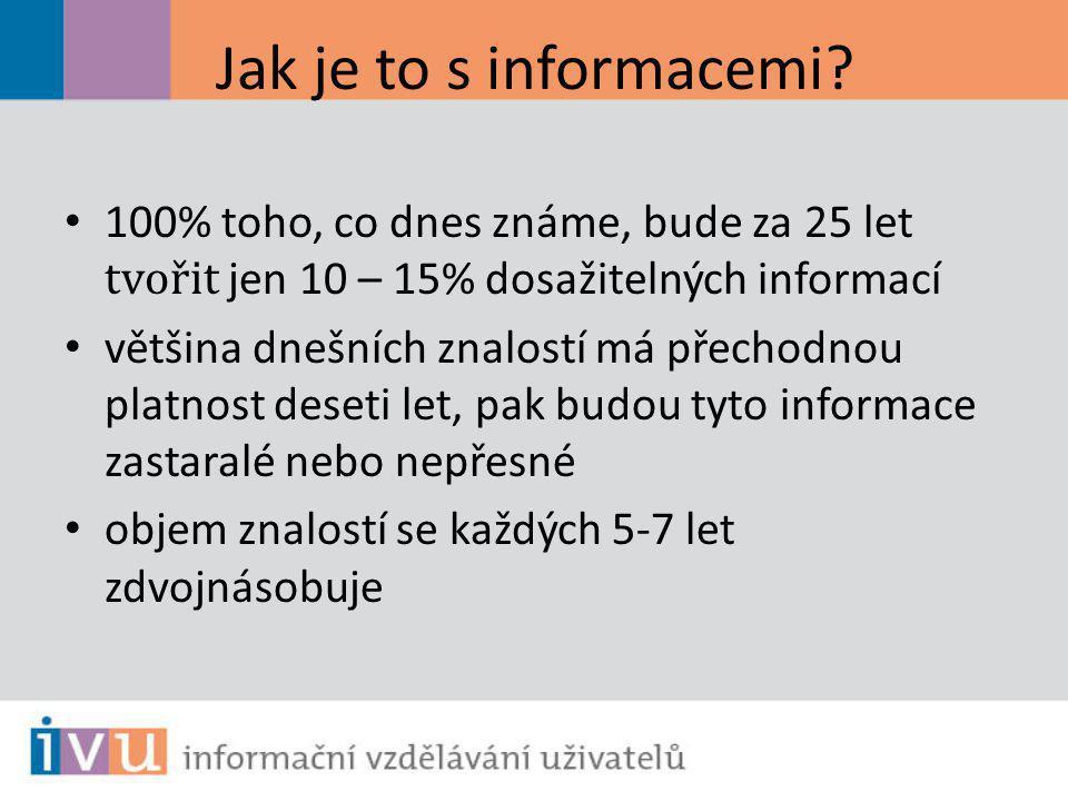 Jak je to s informacemi? 100% toho, co dnes známe, bude za 25 let tvořit jen 10 – 15% dosažitelných informací většina dnešních znalostí má přechodnou