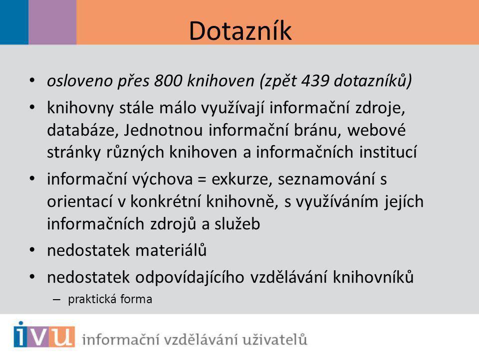 Dotazník osloveno přes 800 knihoven (zpět 439 dotazníků) knihovny stále málo využívají informační zdroje, databáze, Jednotnou informační bránu, webové